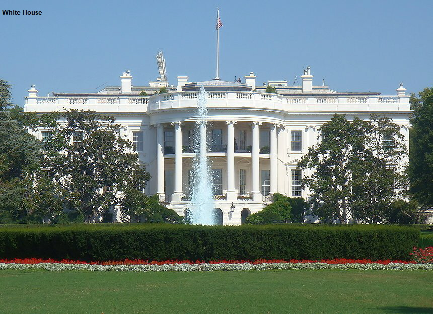 White House - Wei�es Haus: Regierungssitz der US-Pr�sidenten in Washington D.C.
