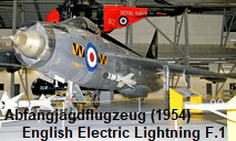 English Electric Lightning F.1: Allwetter-Abfangjagdflugzeug von 1954