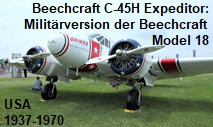 "Beechcraft C-45H Expeditor: Militärversion der Beechcraft Model 18 (""Twin Beech"")"