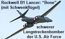 "Rockwell B1 Lancer: ""Bone"" genannter schwerer Langstreckenbomber der U.S. Air Force"