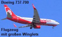 Boeing 737-700: Das Flugzeug ist seit 2003 meist mit großen Winglets ausgerüstet