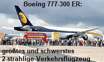 Boeing 777-300 ER: größtes und schwerstes 2-strahlige Verkehrsflugzeug der Welt
