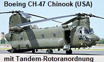 Boeing CH-47 Chinook: zweimotoriger Transporthubschrauber mit Tandem-Rotoranordnung
