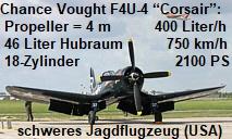 Chance Vought F4U-4 Corsair: schweres Jagdflugzeug mit Propeller = 4 Meter !!