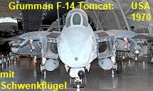 Grumman F-14 Tomcat: überschallschneller, doppelsitziger Kampfjet der USA mit Schwenkflügeln