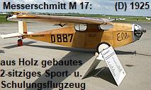 Messerschmitt M 17: zweisitziges Sport- und Schulungsflugzeug - aus Holz gebaut !