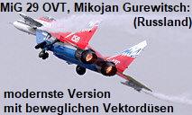 MiG 29 OVT, Mikojan Gurewitsch: modernste Version mit beweglichen Vektordüsen