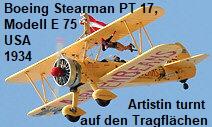 Boeing Stearman PT 17, Modell E 75:  Doppeldecker von 1942 (Grundmodell: 1934)